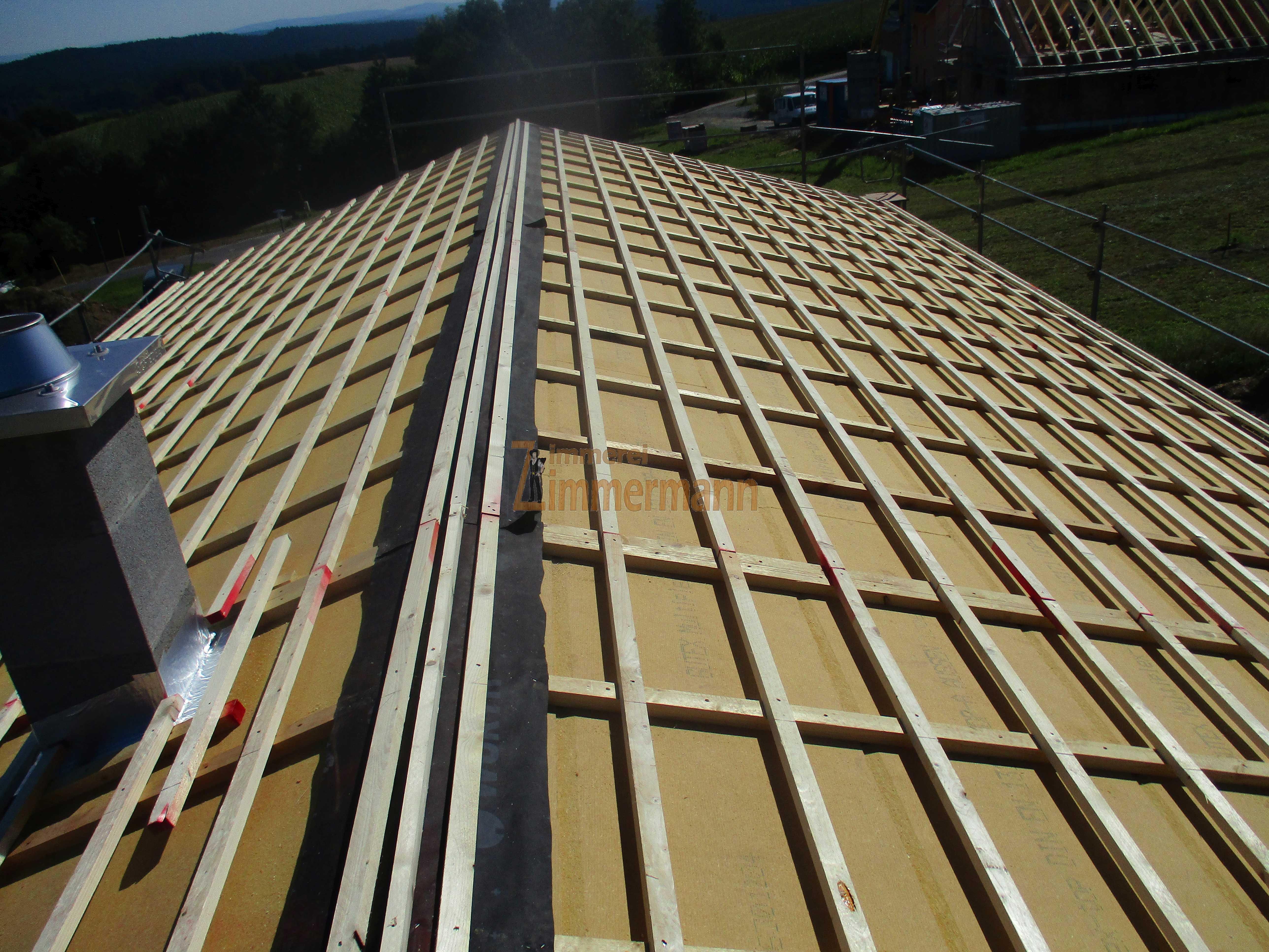Pfettendachstuhl mit Holzweichfaserunterdeckplatten