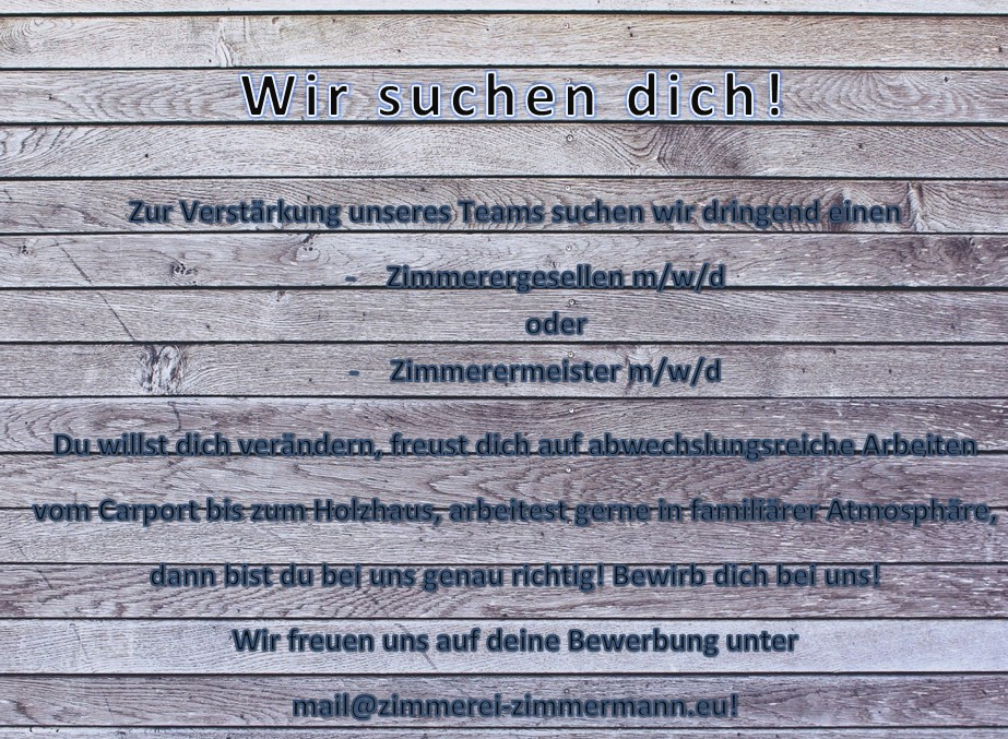 Stellenausschreibung Zimmerei-Zimmermann